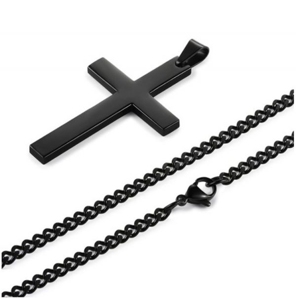 Cross Pendant With Chain - Black Chain