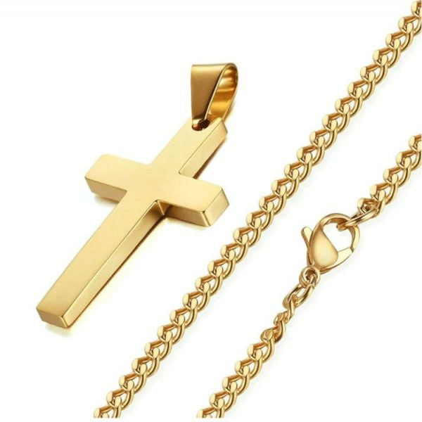 Cross Pendant With Chain - Gold Chain