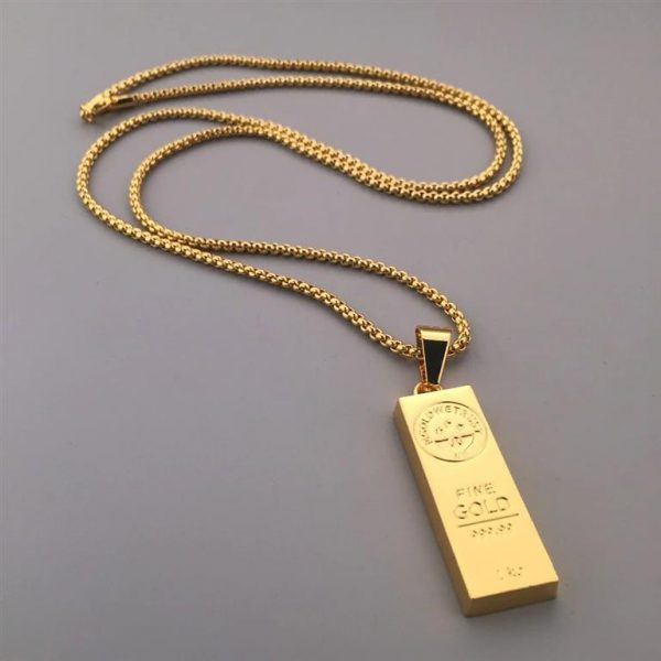 Golden Bar Pendant With Chain - Bling Collection - Chain