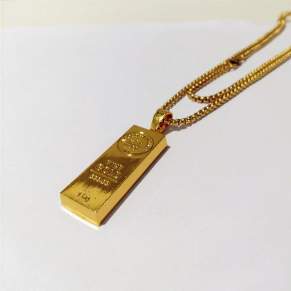 Golden Bar Pendant With Chain - Bling Collection - Side