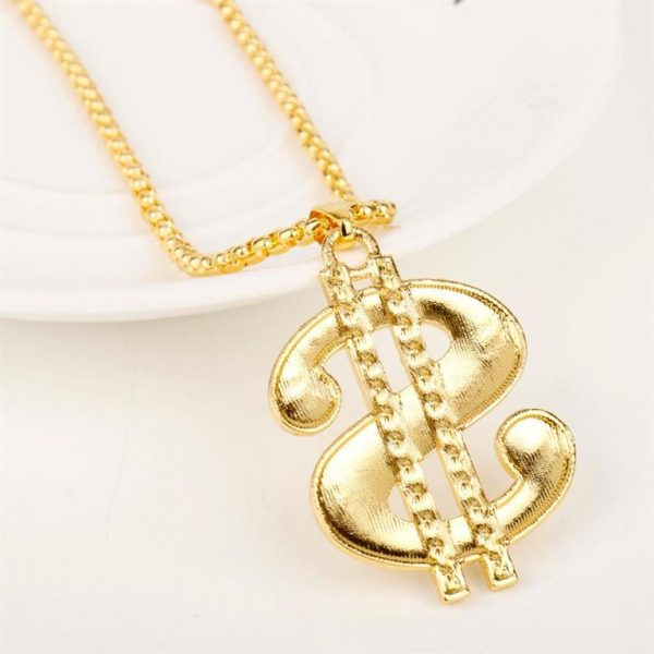 Golden US Dollar Pendant With Chain - Bling Collection - Back