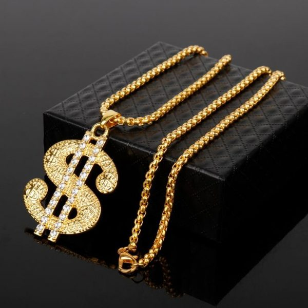 Golden US Dollar Pendant With Chain - Bling Collection - Box
