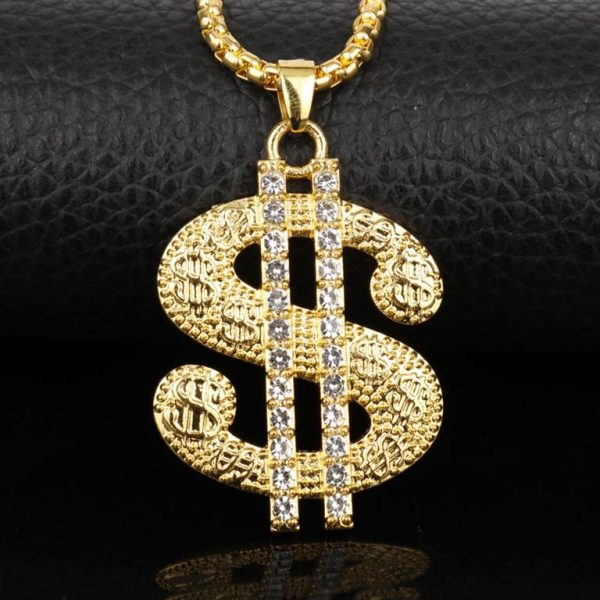 Golden US Dollar Pendant With Chain - Bling Collection - Close Up