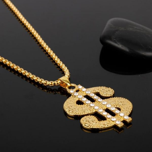 Golden US Dollar Pendant With Chain - Bling Collection - Side