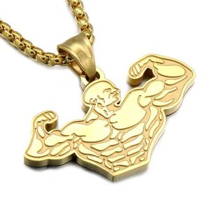 Gym Muscle Pendant Chain For Men - Bling Collection - Gold
