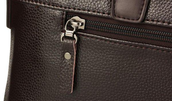 Men's Casual Leather Bag Set - Zipper Detail