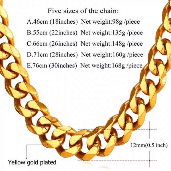 Men's Cuban Link Hip-Hop Chain - Bling Collection - 12mm - Weight