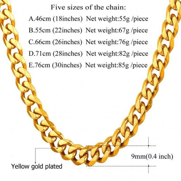Men's Cuban Link Hip-Hop Chain - Bling Collection - 9mm - Weight