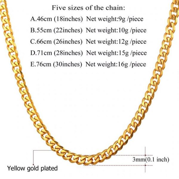 Men's Cuban Link Hip-Hop Chain - Bling Collection - Gold -3mm