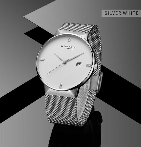 Men's Elegant Business Watch - Silver White