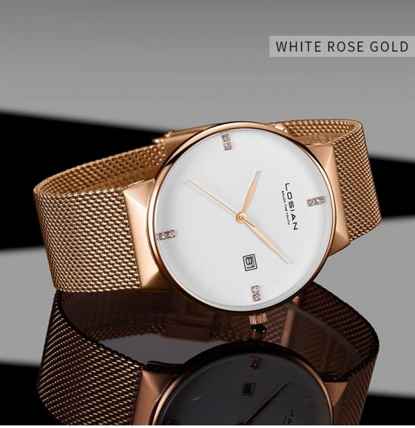 Men's Elegant Business Watch - White Rose Gold