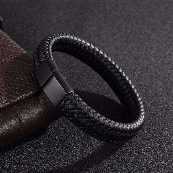 Men's Leather Braided Bracelet - 3
