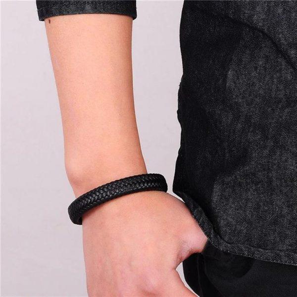 Men's Leather Braided Bracelet - 4