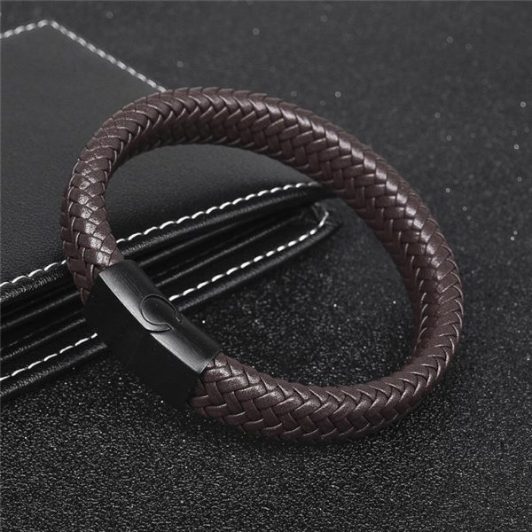 Men's Leather Braided Bracelet - 5