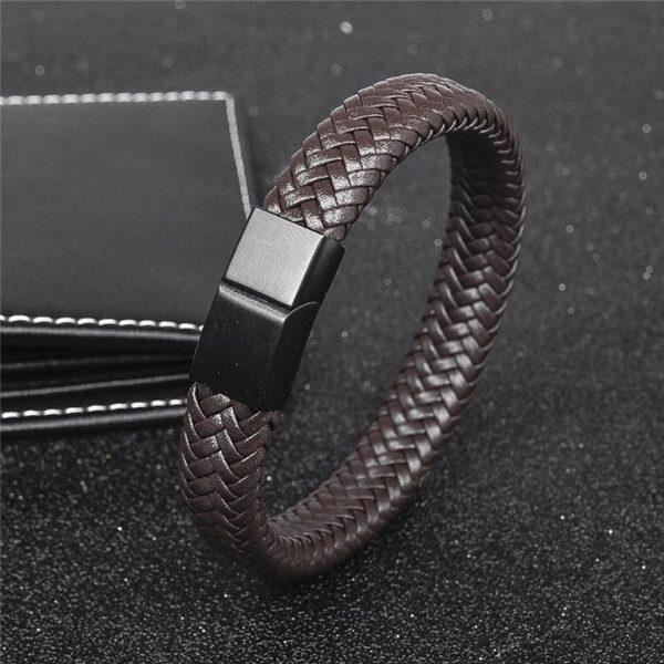 Men's Leather Braided Bracelet - 6