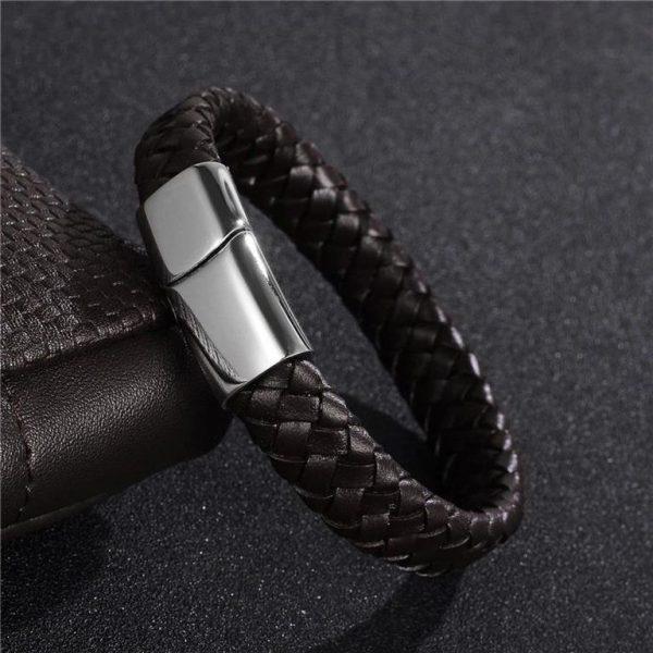 Men's Leather Braided Bracelet - 8