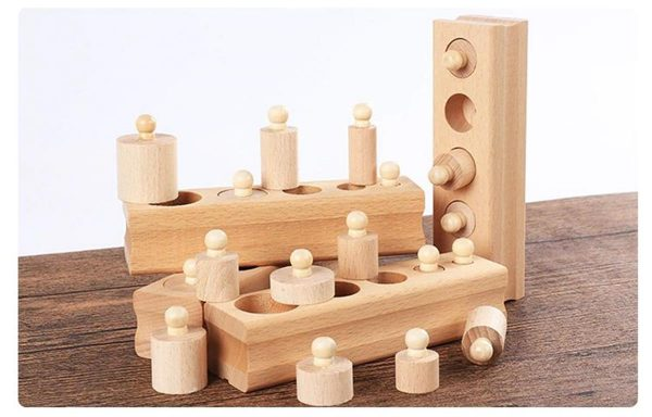 Montessori Wooden Cylinder Blocks - Set 2