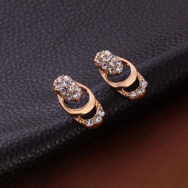 Rose Gold Crystal Party Dress Jewelry Sets For Women - Earrings