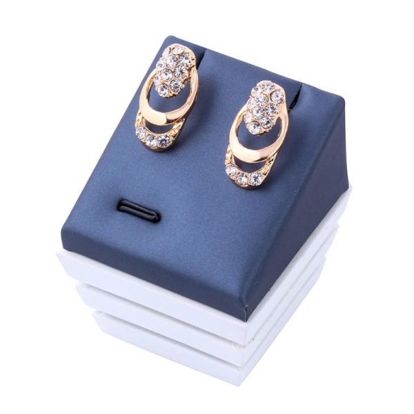 Rose Gold Crystal Party Dress Jewelry Sets For Women - Earrings Box
