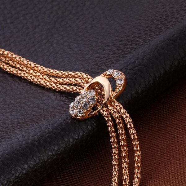 Rose Gold Crystal Party Dress Jewelry Sets For Women - Bracelet