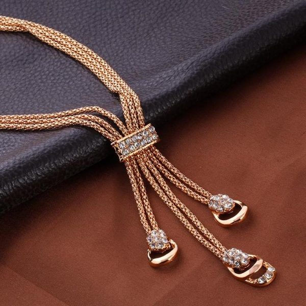 Rose Gold Crystal Party Dress Jewelry Sets For Women - Necklace