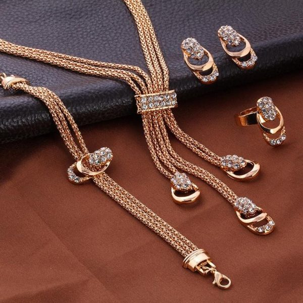 Rose Gold Crystal Party Dress Jewelry Sets For Women - Sample