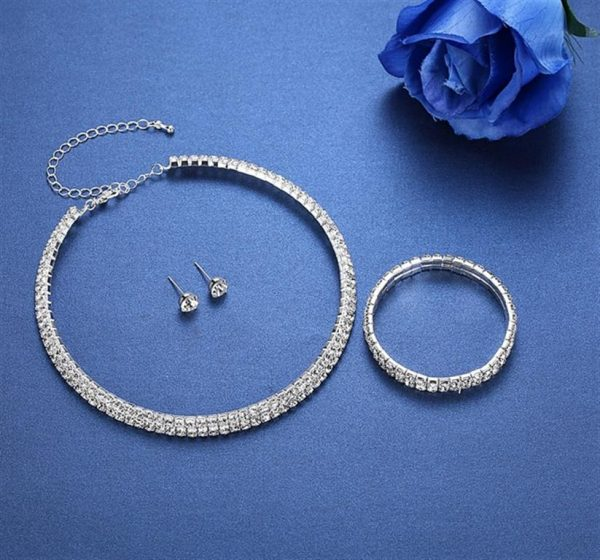 Silver Circle Bridal Jewelry Set - Blue Double