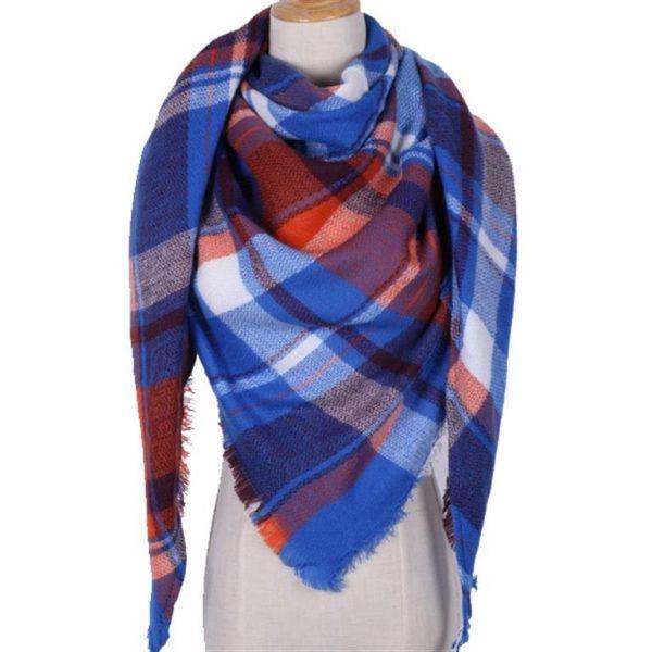 Triangular Cashmere Plaid Scarf For Women - Blue 2