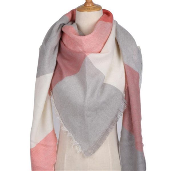 Triangular Cashmere Plaid Scarf For Women - Gray Red