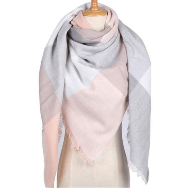 Triangular Cashmere Plaid Scarf For Women - Pink 2