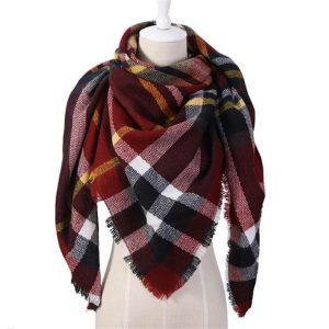 Triangular Cashmere Plaid Scarf For Women - Red
