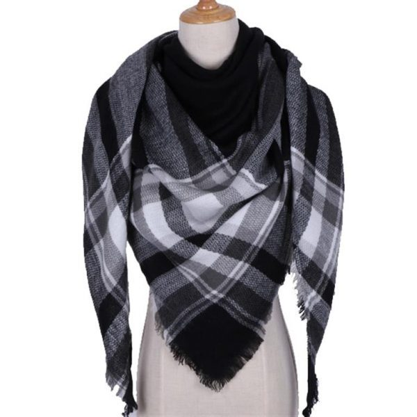 Triangular Cashmere Plaid Scarf For Women - black