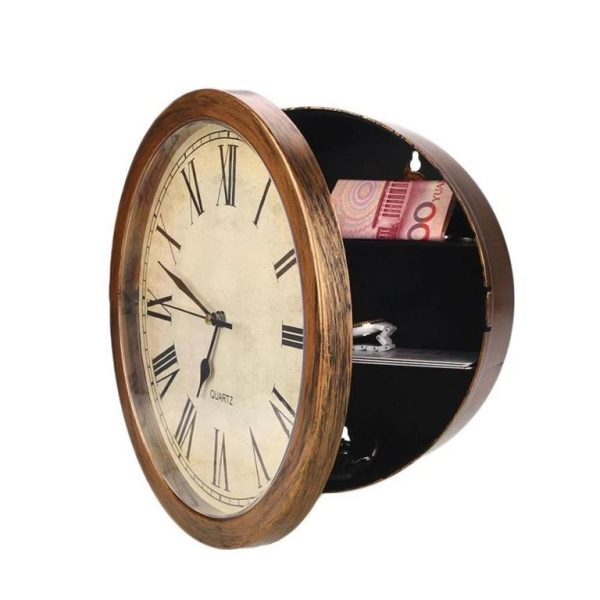 Wall Clock Secret Storage Box - Antique