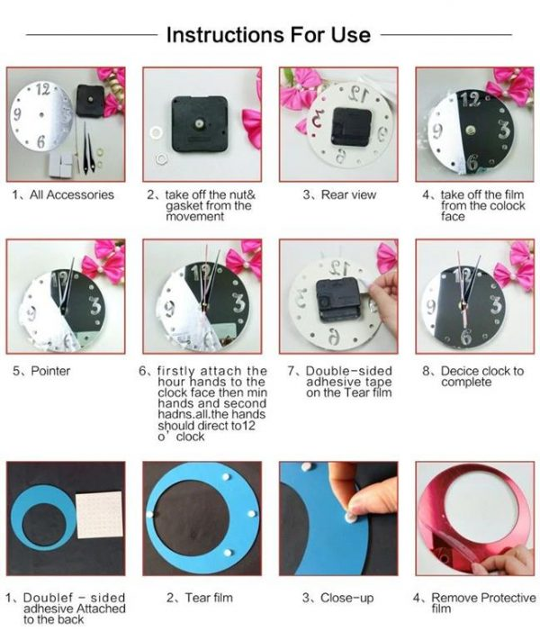 Wall Clock With Mirror Decor - Bubbles - Instructions