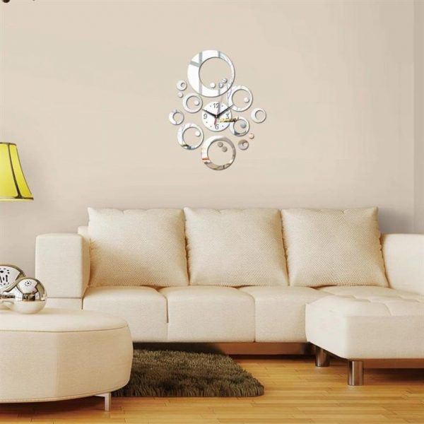 Wall Clock With Mirror Decor - Bubbles - Silver Biege