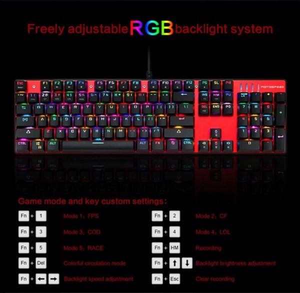 Wired Backlit Mechanical Gaming Keyboard - RGB Backlight