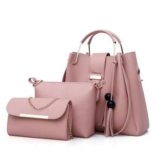 Women's 3 Piece Handbag Set - Pink