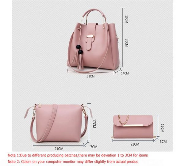 Women's 3 Piece Handbag Set - Sizes