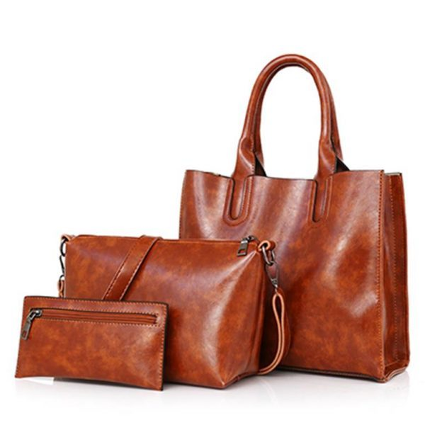 Womens-High-Quality-3-Set-Handbags-brown