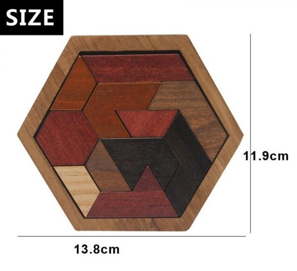 Wooden Jigsaw Puzzle - Geometric - Size