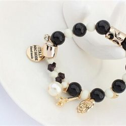 Charms Bracelet With Crystals And Beads - Black