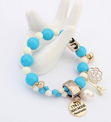 Charms Bracelet With Crystals And Beads - Blue
