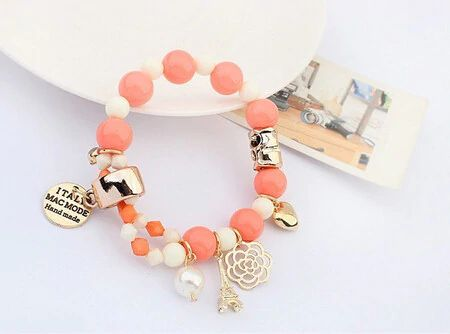Charms Bracelet With Crystals And Beads - Pink