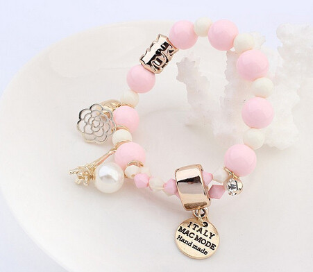 Charms Bracelet With Crystals And Beads - White