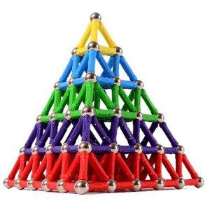 Colourful Magnetic Building Blocks Bars-and-Balls - Pyramid