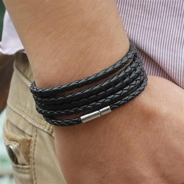 Men's Leather Wrapped Bracelet - Black