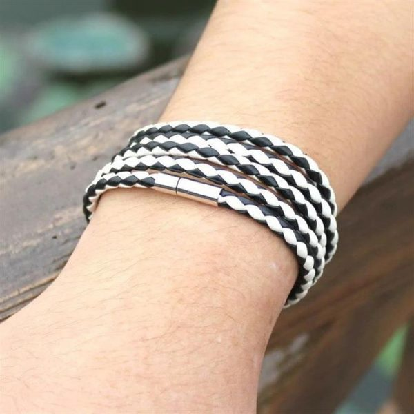 Men's Leather Wrapped Bracelet - Black and White