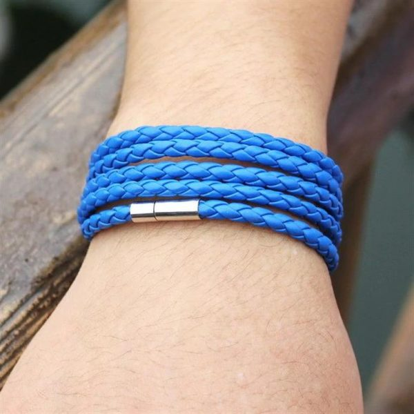 Men's Leather Wrapped Bracelet - Blue - Model