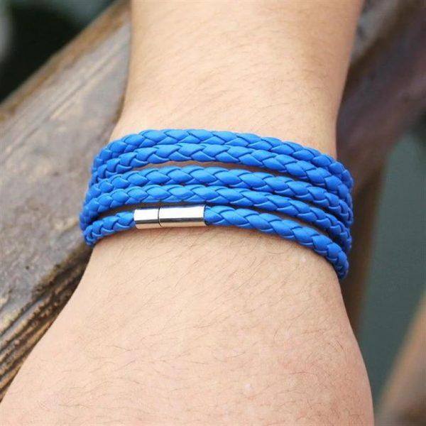Men's Leather Wrapped Bracelet - Blue - Model