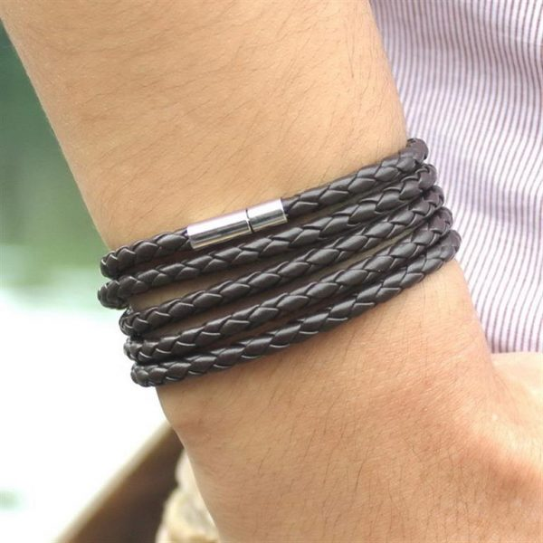 Men's Leather Wrapped Bracelet - Brown